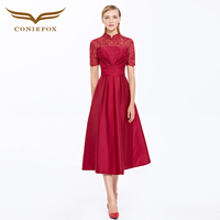 CONIEFOX 31398 vestidos de festa vestido para casamento Red Cocktail Dresses cheongsam Elegant Cocktail Prom Dress Vestido 2016