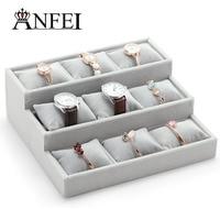 Wyświetlacz ANFEI Hurtownie Biżuteria Biżuteria Organizator Biżuteria Stanąć Opakowania Wyświetlacz Zegarka Zegarek/Wisiorek Box Biżuteria Box Rack