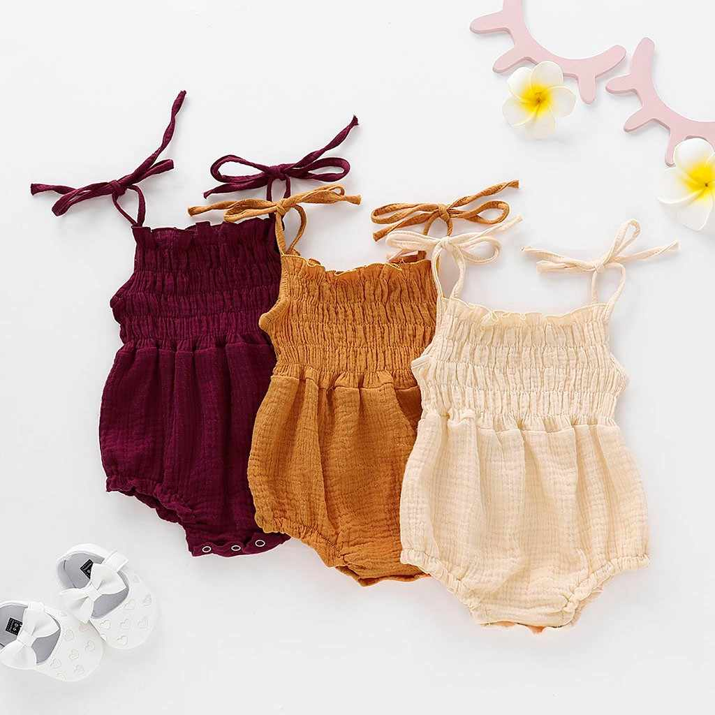 Newborn Baby Girls Clothes Toddler Sleeveless Suspender Folding Bow Linen Romper Jumpsuit Summer ribbed baby clothes bebek tulum