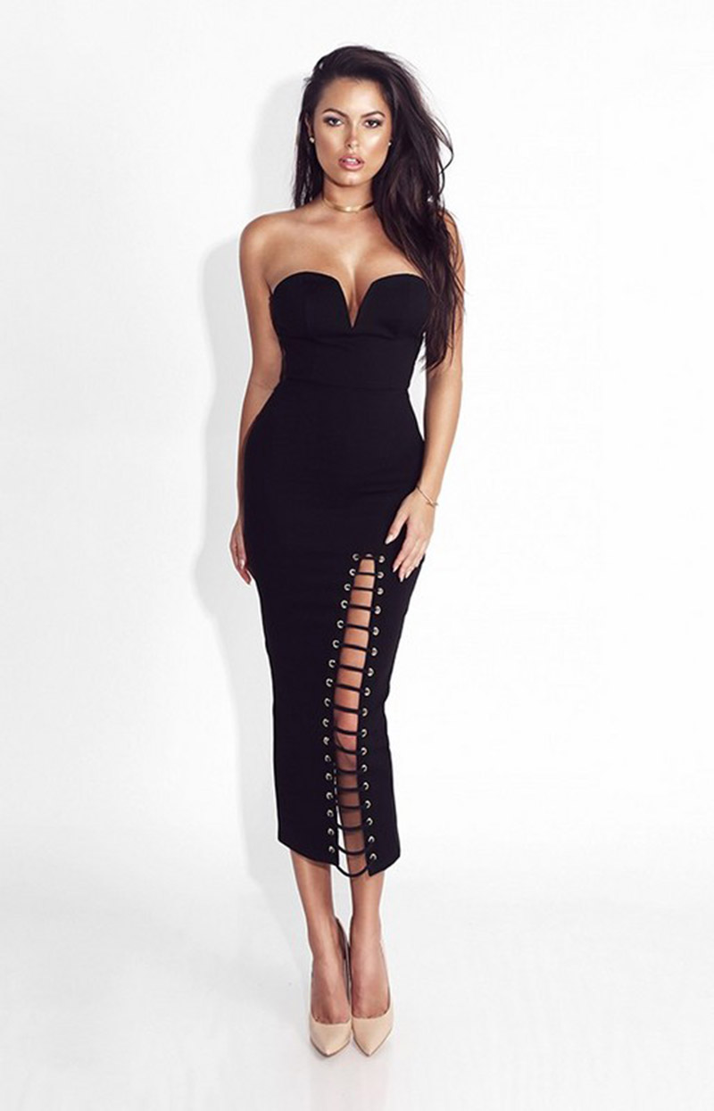 Women Sexy Busty Off The Shoulder Strapless Split Rayon Stetchy Elastic Celebrity -9952