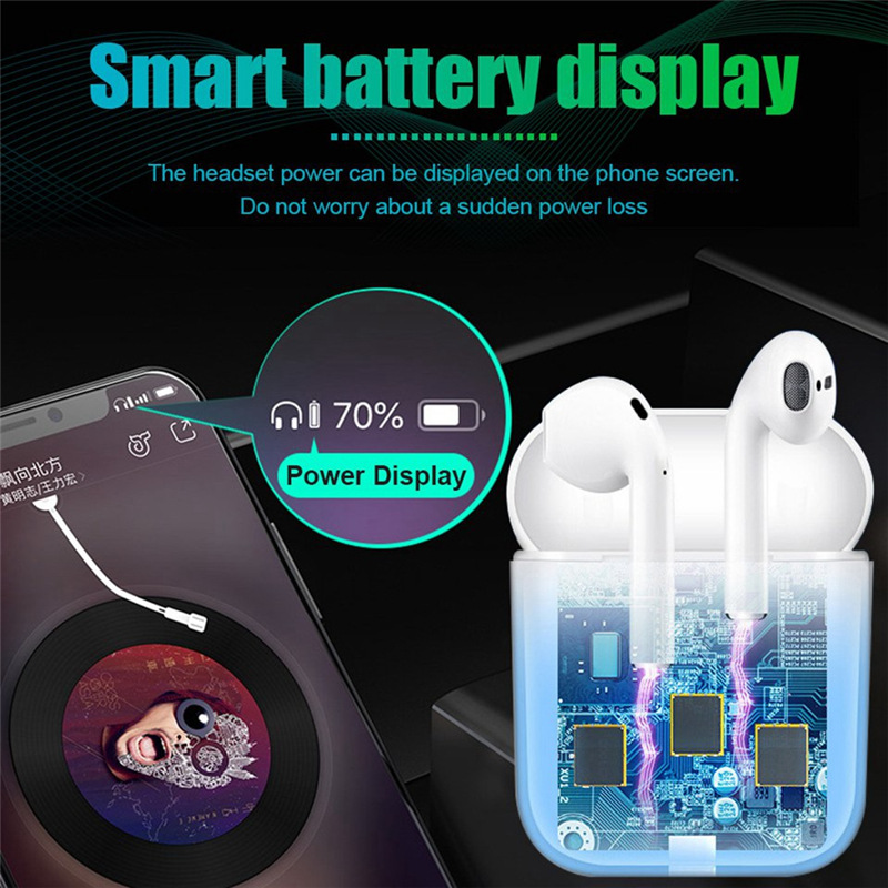 i15 wireless bluetooth earphone V5 0 stereo sound touch control Mic earplug earbud mobile phone tablet ear cup 300mAh charge box in Bluetooth Earphones Headphones from Consumer Electronics