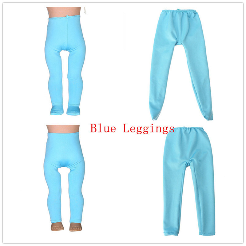 2 kinds Blue Leggings Tight Pants Fit 18 Inches American Girl Doll Baby Doll Clothes Accessories Handmade Fashion Pants Clothes