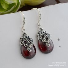 925 sterling silver jewelry Thai silver restoring ancient ways water droplets red pomegranate barren woman earrings 925 sterling silver jewelry thai silver restoring ancient ways water droplets red pomegranate barren woman earrings