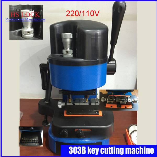 FREE SHIPPING Vertical punch key cutting machine 303B 220v 180w 50hz key duplication machine made in China fast ship genuine leather cutting machine punch diameter 2 0mm