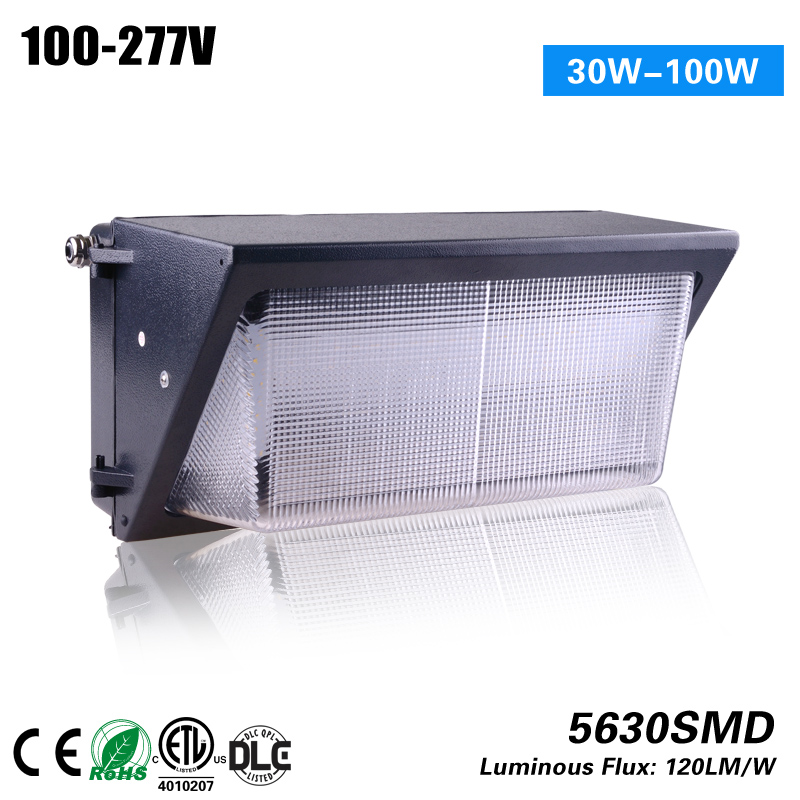 ETL DLC CE ROHS Meanwell Driver 80w led walpack light to replace 250w HPS MH 5 years warranty