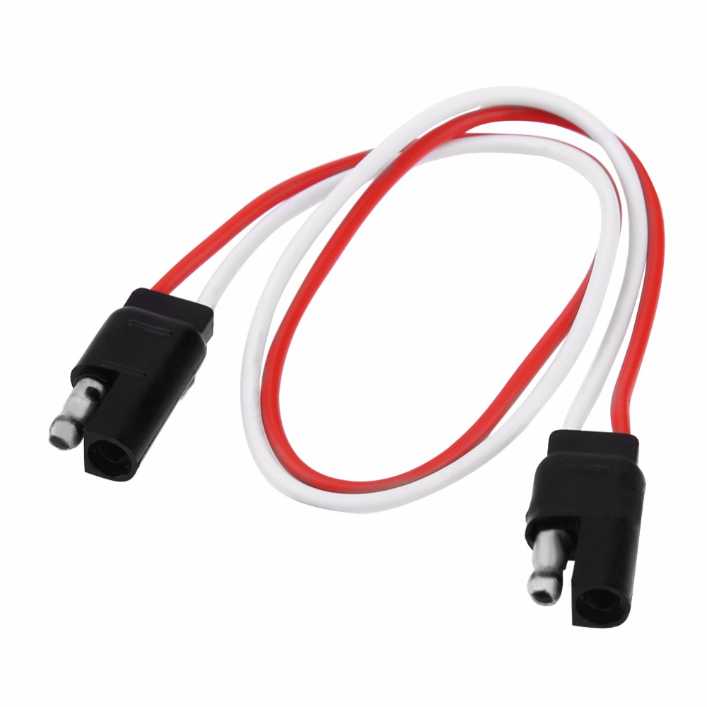 30 5cm 12in 2 pin sae plug trailer light wiring harness extension cable flat wire connector for commercial vehicle traile [ 1000 x 1000 Pixel ]