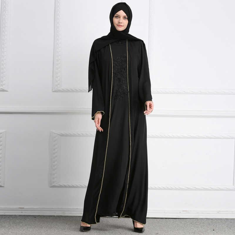 eb978660f03 ... Plus Size Blusas Mujer De Moda 2019 UAE Abaya Dubai Muslim Linen Pearls  Hijab Kimono Cardigan ...