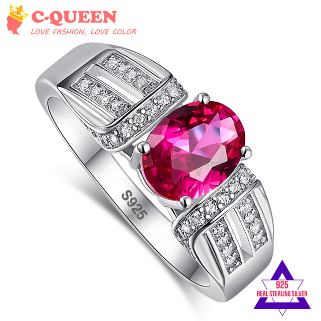 Jrose Fashion Vintage Gift Oval Rose Red White CZ 100% Real Pure Solid 925 Sterling Silver Rings Women Wedding Engagement Party