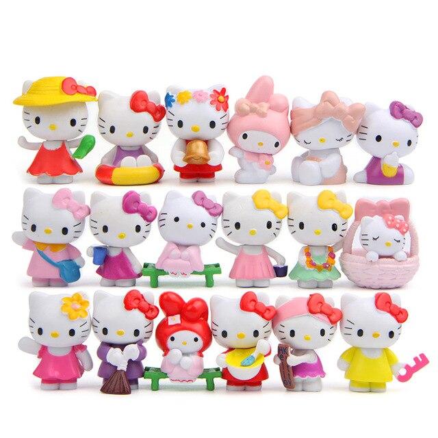 5336fc4d0 18 pc/set Hello Kitty Action Figure Cartoon Toys girls set Anime cute Home  Decor