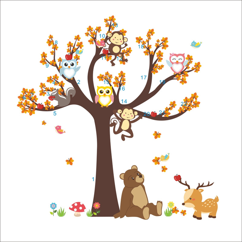 HTB1.PoePpXXXXX4XFXXq6xXFXXXm - Jungle Forest Tree Animal Owl Monkey Bear Deer Wall Stickers For Kids Room