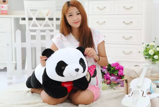 large 80 cm panda plush toy lovely lying panda doll throw pillow birthday gift ,Christmas gift w6753 40cm super cute plush toy panda doll pets panda panda pillow feather cotton as a gift to the children and friends