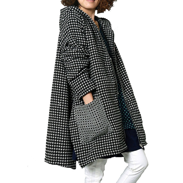 Olrain Women's Winter Long Sleeve Checkered Hooded Loose Parka Jacket with Pockets
