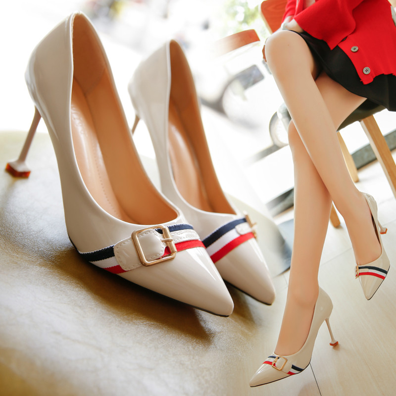 8-9cm size 34-39 Pointed Toe women banquet Pumps lady Wedding Party Shoes leather Casual Canvas dancing party high heels G94