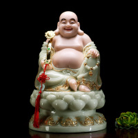 30cm LARGE high grade home shop TOP efficacious Talisman Mascot Maitreya smile Buddha jade gilding carving Sculpture statue