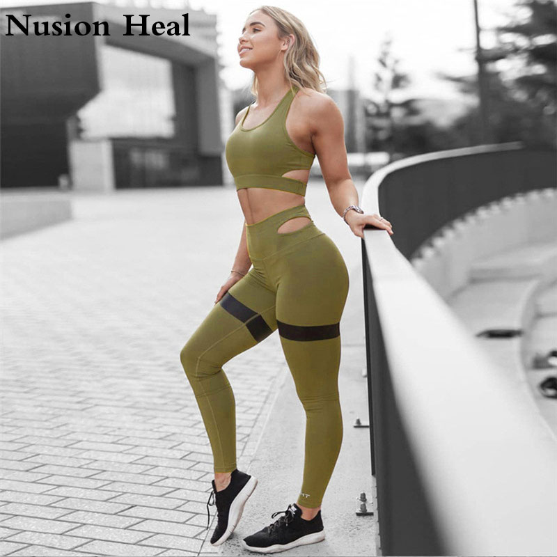 Slim Leggings Women Solid Fitness Workout Legging High Waist Pencil Pants Yoga Leggins+Sports Yoga Bra Tops Shirts Running Tight