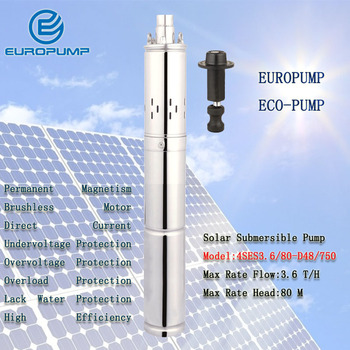 EUROPUMP MODEL(4SES3.6/80-D48/750) Stainless Steel 304 Submersible DC Solar water pump for Deep Well 48V Max 80L/min Irrigation deep well submersible pump well water 220v stainless steel high lift deep water three phase 380v irrigation suction pump