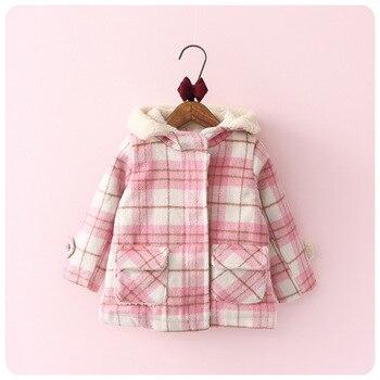 2016 Korean Autumn  Winter New Children's Garment Girl Baby Will Lattice Even Hat Zipper Jacket Loose Coat Cardigan Smock
