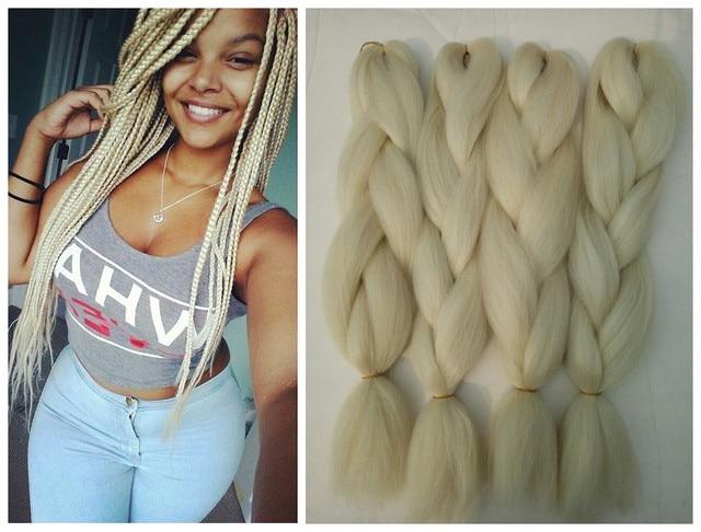 Hot Sale Synthetic Jumbo Braiding Hair Pure 613 Blonde Color 5pcs