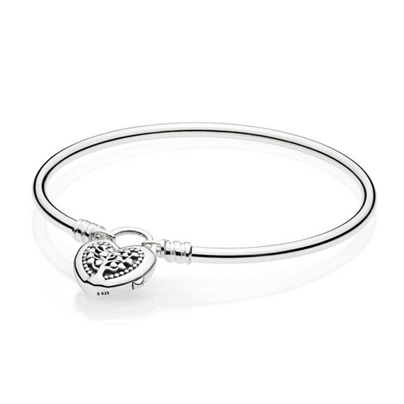 925 Silver Bead Charm Bracelet Fit Original Pandora Moments Sterling Silver Bangle With Tree Of Love Clasp For Women DIY Jewelry925 Silver Bead Charm Bracelet Fit Original Pandora Moments Sterling Silver Bangle With Tree Of Love Clasp For Women DIY Jewelry