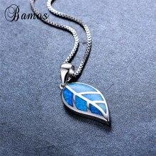 Bamos New Fashion Leaf Shape Blue Fire Opal Pendant Necklace
