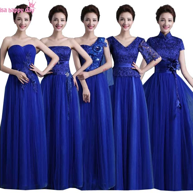 31f487ab7732f royal blue vestidos de festa long tulle brides maid the bride dresses 2019  high neck long length dress for bridesmaid B3051