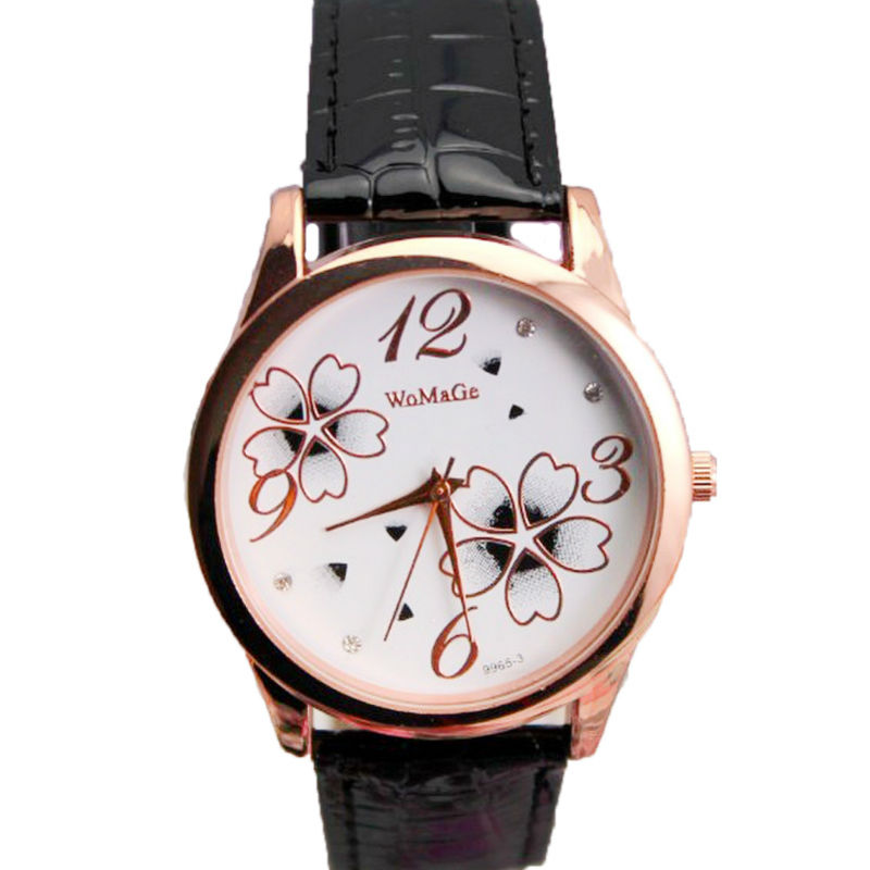 Новый элегантный Цветочный дизайн часы леди платье 11 цвета кожаный ремешок womage бренд женщин кварца моды цветок наручные часы горячая
