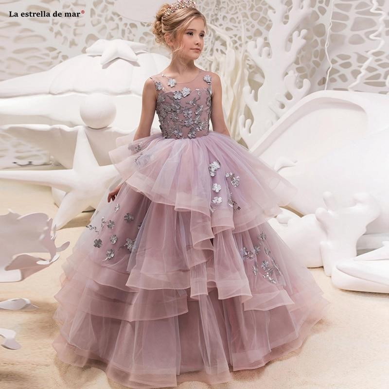 Vestidos De Primera Comunion2019 New Tulle Applique Scoop A Lina Lavender Ball Gowns For Girls Floor Length Sukienka Kwiaty