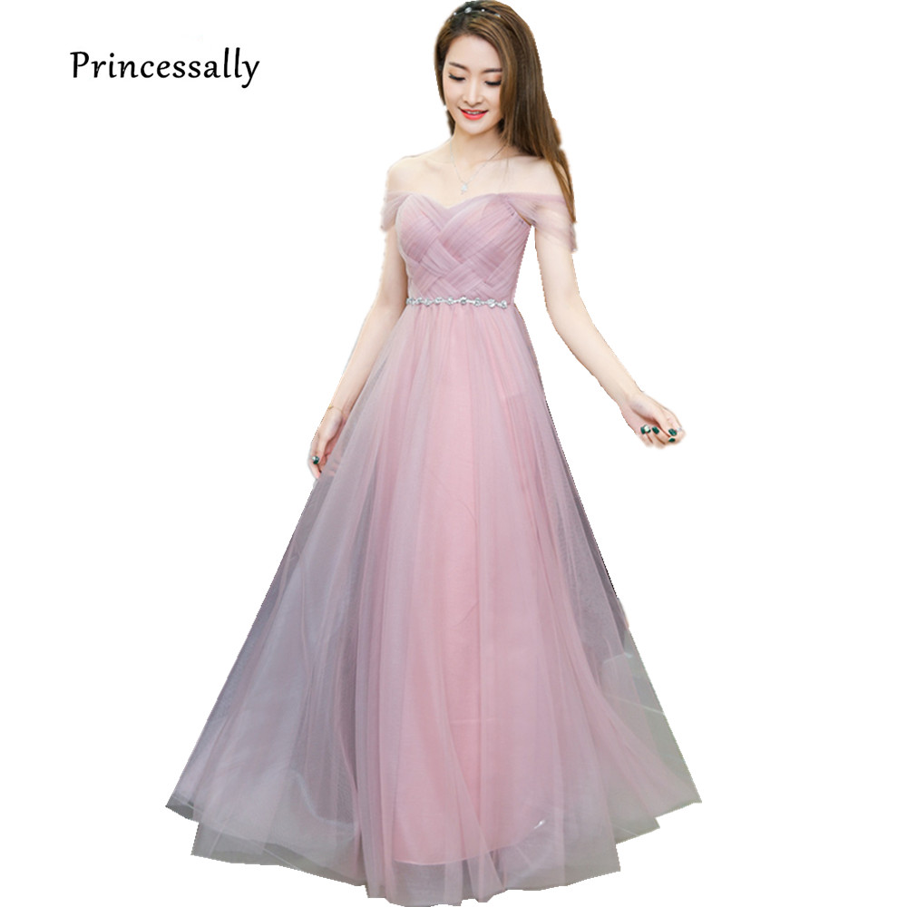Dusty Pink Long Bridesmaid Dress Sweetheart Tulle Cheap Pleated Prom Dresses  Under  50 Junior Bridesmaid Gown Dama Dresses-in Bridesmaid Dresses from ... efbd2e2de932