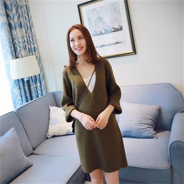 Корейский материнства осенне-зимней моды большой v-образным вырезом дикие беременных женщин свитер осень и зима primer свитера Материнства