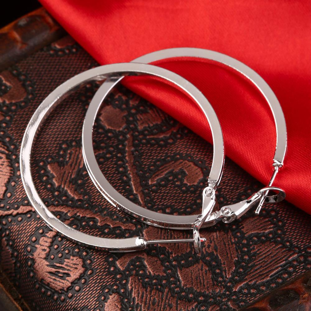 Stylish Silver Plated Round Hoop Earrings Women Loop Celebrity Brand Office  Party Gift Bijoux Classic Jewelry