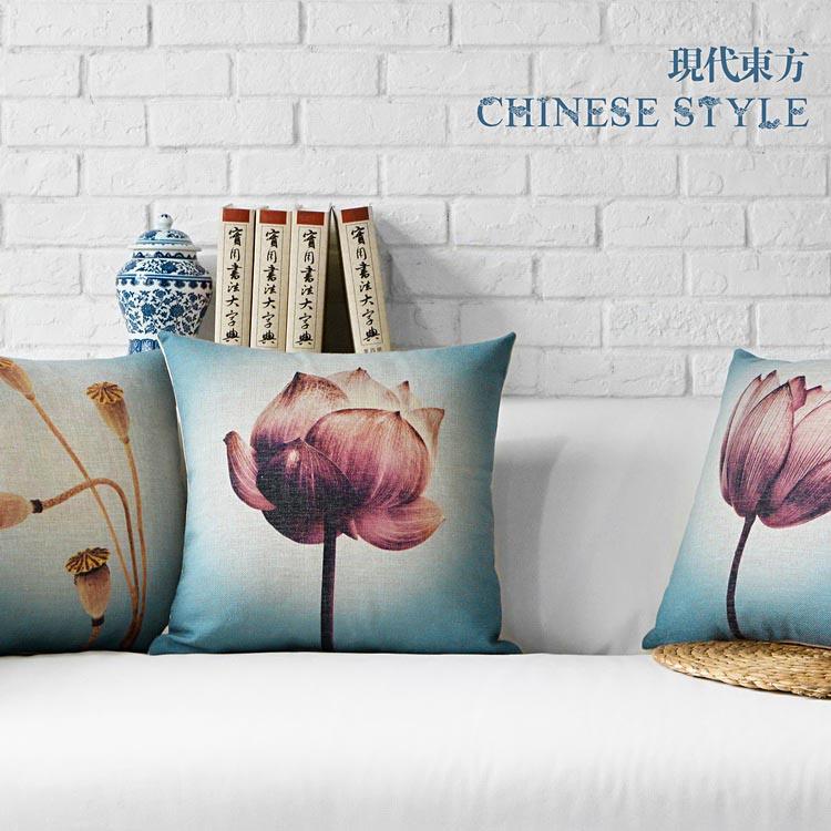 Modern Pastoral Lotus Lumbar Pillows Floral Cushions, Thick Linen Pillowcase Sofa Cushion Home Decorative Pillows