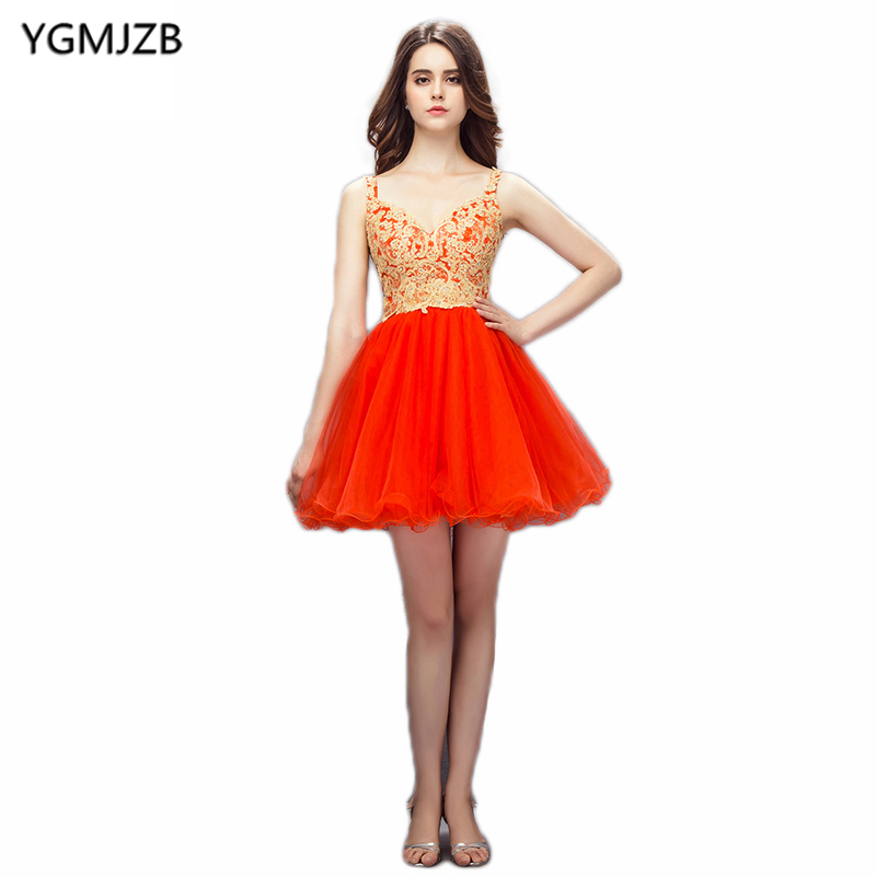 New Arrival Cocktail Dresses 2018 A Line V Neck Sleeveless Backless Mini Beaded Lace Orange Short Dress Formal Cocktail Dresses