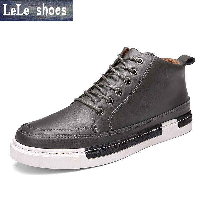 2016 New Arrival Men Genuine Leather Lace up Ankle Boots Spring Autumn High Quality Platform Casual Walking Shoes Zapatos Hombre new arrival girl full leather boots spring autumn casual snow high top genuine leather boots women shoes a443