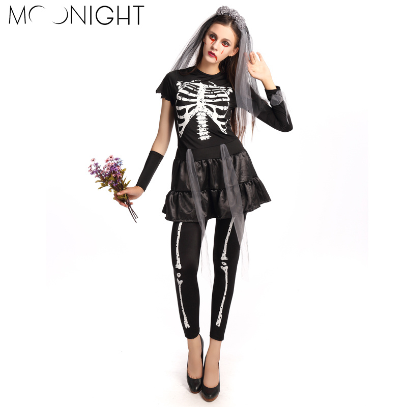 moonight 4 pcs halloween role playing costumes scary women skull zombies costume women ghost bride costume - Scary Halloween Costumes Women