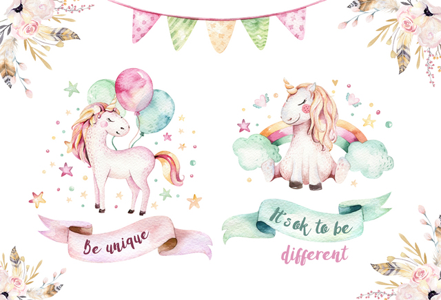 8e1389fee2b13 cartoon unicorn backdrop birthday party background for children newborns  decoration cute dessert table banner customized XT-6633