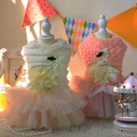 2015 Cute Luxury Princess Dog Dress Tutu Swan Skirt Warm Wedding Clothes For Dog Cats