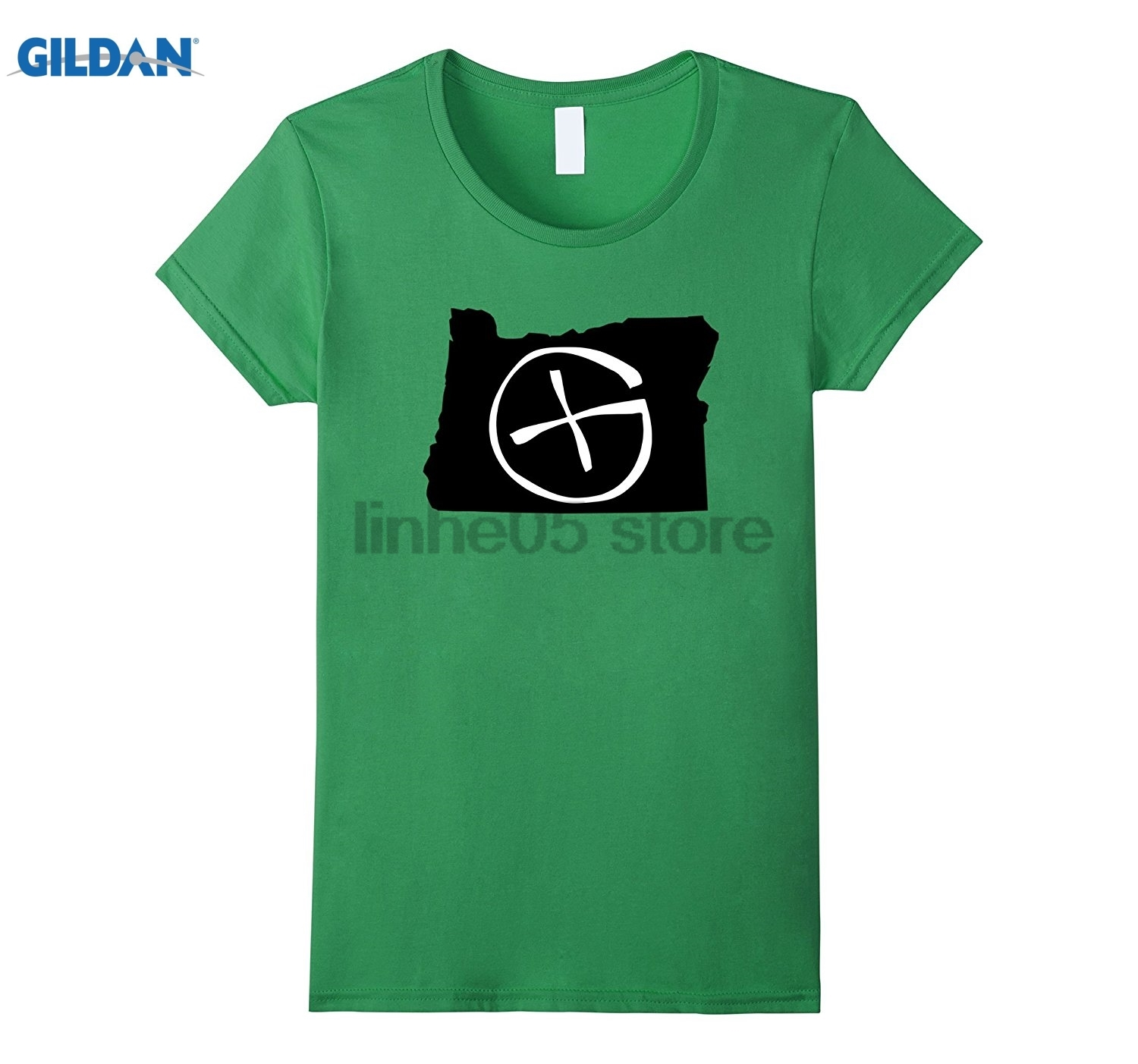 GILDAN Oregon Geocaching Symbol Shirt Geocache Cache Hunter Womens T-shirt