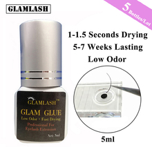 GLAMLASH 5 Bottles/Lot 5/10ml Eyelash Extension Glue Suppliers Adhesive 1 Sec Drying Time 9 Weeks Maximum Bond Individual