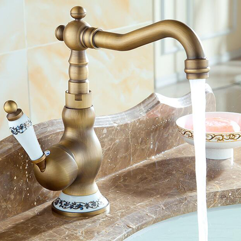 Vidric Antique Solid Brass bathroom faucet single handle single hole bathroom table basi ...