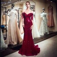 Sapphire Bridal Vestido De Festa 2019 Luxury Long Formal Gowns Burgundy Off the Shoulder Beads Sexy Tassel Sleeve Evening Dress