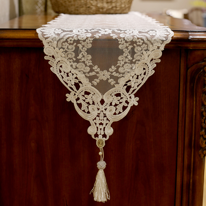 Кружево свадебный стол бегунов белый вышитый кофе столбец Рождество дома декоративные трикотажные обеденный столбец Кружево