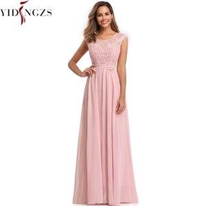 Image 5 - YIDINGZS Elegant Chiffon Formal Evening Dress Appliques Beading Long Party Dress 2020