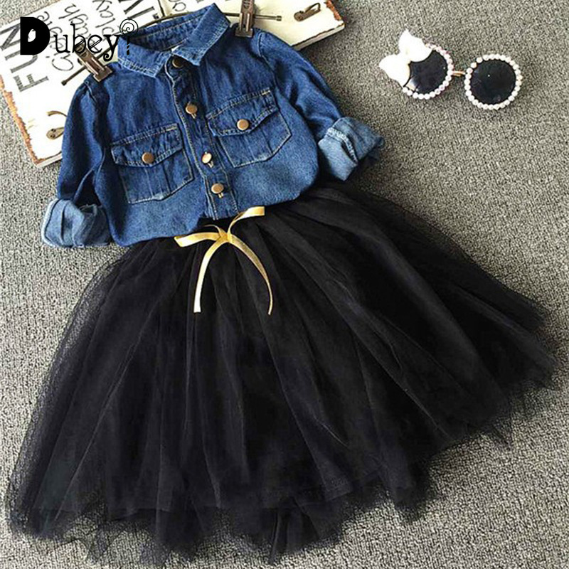 Toddler Girl Denim Suits Girls Ruffle Outfits Long Sleeved Shirt + Tulle Skirt Set for Boutique Kids Clothing