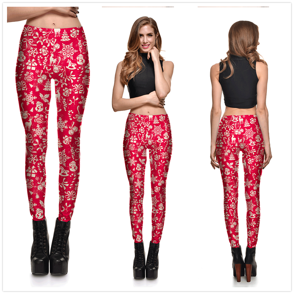 8 Great Styles, Women Sexy Merry Christmas leggings, Gradient Lanterns, Color Fantasy Printed 16