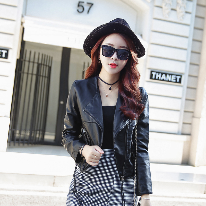 ФОТО 2016 real cotton lycra spandex o-neck chiffon full thin long sleeved slim autumn new dress zipper collar suit leather jacket