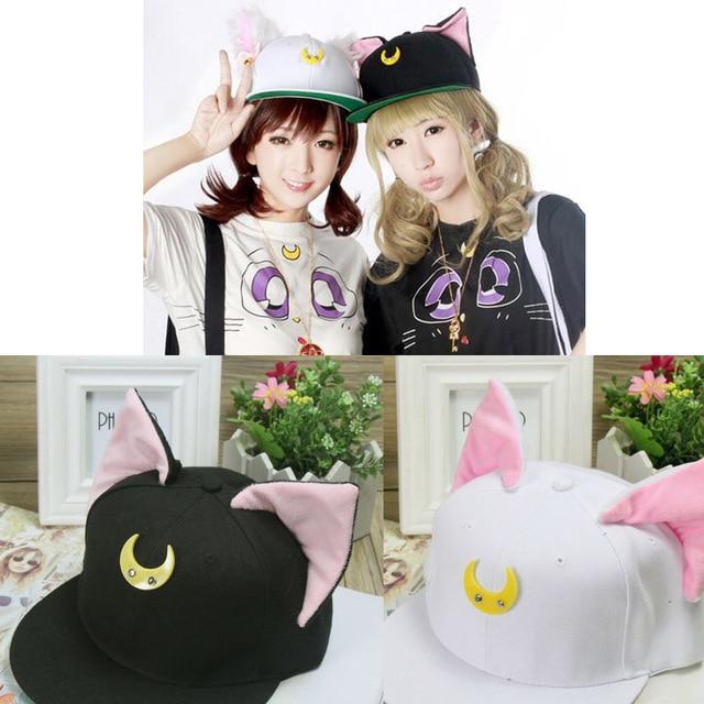 Frete grátis Anime Sailor moon Luna Gato Boné de beisebol Chapéu Da Forma Harajuku Hat Cosplay Acessório Traje Chapéu Novo