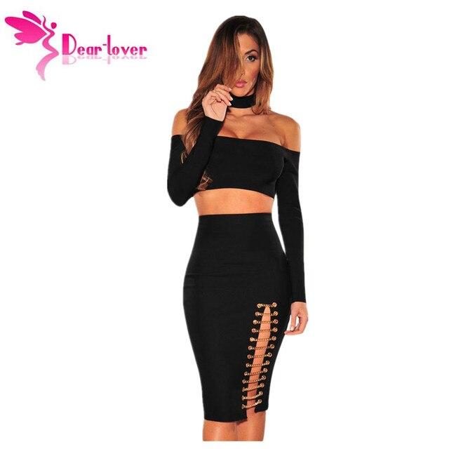 Dear-Amante Sexy Oco Out Bodycon Saias Das Mulheres Moda Corrente de Ouro Preto Slit Night Club Saia Faldas saia Jupe feminino LC65011