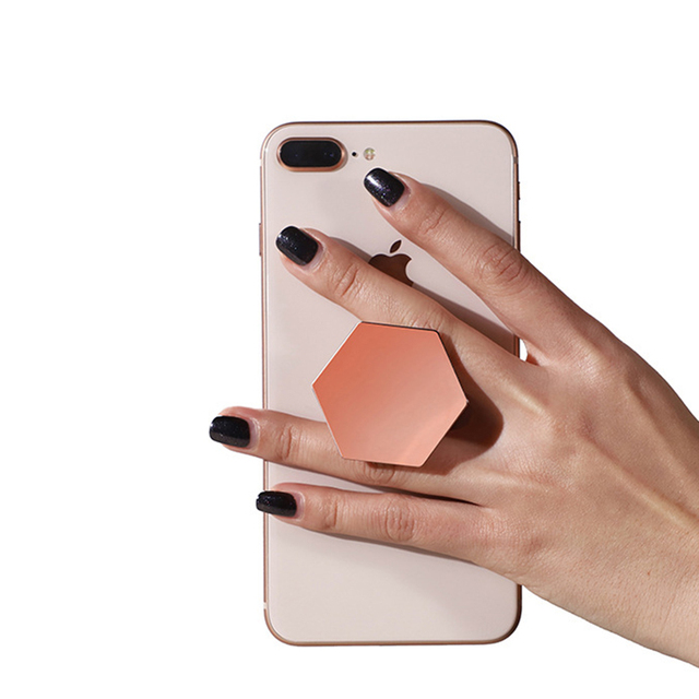 dfd345e0442 Universal Finger Ring Holder Plating Hexagon Pop Grip Extending Stand  Mobile Phone Ring Holder For iPhone X 8 7 Samsung Stand