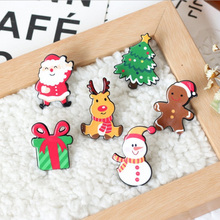 1 PCS Cartoon Christmas series Icons Acrylic Badges for Backpack Clothes Plastic Badge Kawaii Pin brooch