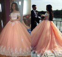 Blush Pink Ball Gown Quinceanera Dresses 2019 Bateau Neck Applique Tulle Plus Size Sweet 16 Dresses Peach Saudi Arabic Prom Gown
